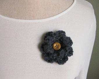 Crochet Flower Pin-Blue Flower Pin-Steel Blue Flower Brooch-Crochet Flower-Crochet Flower with Button-Crocheted Pin-Crochet Brooch-Blue Pin