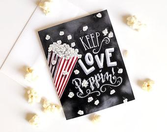 Valentines Day Card, Valentine Card, Valentines Day, Chalkboard Art, Chalk Art, Hand Lettered, Love Card, Love, Popcorn, Calligraphy