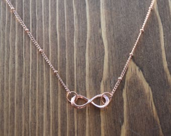 Infinity Necklace, Forever Necklace, Rose Gold, Gold, Silver
