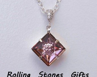 "925 Sterling Silver 12mm Swarovski Visions Square in Antique Pink 18"" Necklace-Swarovski Crystal Necklace Sterling Silver Necklace"