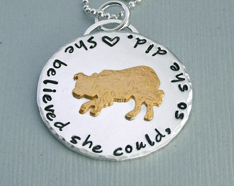 Border Collie Necklace - 14K Gold Filled and Sterling Silver - she believed she could so she did