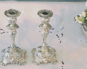Antique Pairpoint Silver Plate Candlesticks - Pair of Silver Plate Candlesticks - Rococo Style Candlesticks & Antique Pairpoint Silver Plate Creamer