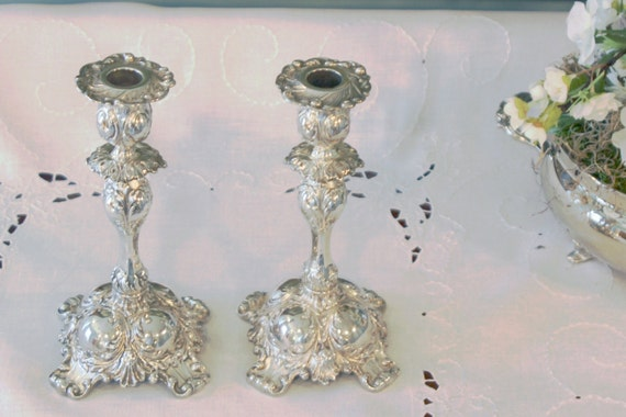 & Antique Pairpoint Silver Plate Candlesticks Pair of Silver