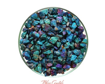 "1/4 lb Chalcopyrite ""Peacock Ore"" Small Stone Rough Crystal Chips aka Bornite Healing Crystal and Stone Jewelry & Crafts #CS01"