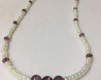 Purple Cats Eye Necklace