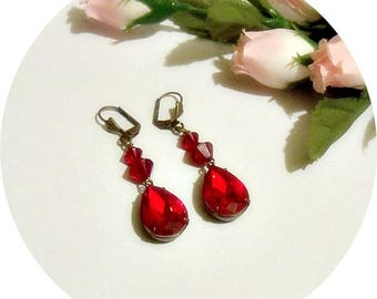 Red Earrings, Deep Red Earrings, Red Dangle Earrings, Holiday Earrings, Ruby Red Earrings, Dressy Red, Antique Red, Red Jewelry