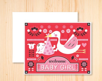 Welcome Baby Girl Card - Baby Shower Card - Baby Girl Baby Shower Card - Scandinavian Welcome Baby Card - Illustrated Greeting Card