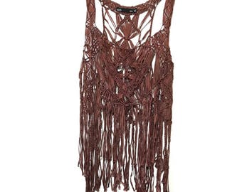 Vintage brown crochet fringe top//festival top//fringe shirt