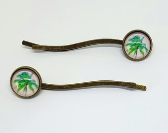 2 x Palm Tree Bobby Pins, Palm Tree Hair Grips, Curved Bobby Pins, Tropical Bobby Pins, Tree Bobby Pins, Gift For Women, Gift For Her