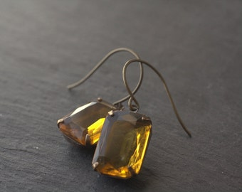 Topaz citrine amber crystal earrings vintage glass jewel yellow oxidized brass glamour art deco dangle antique style