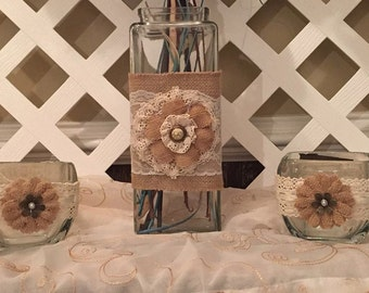 Rustic Flower Vase and Candle Holders - Flower Vase and Candle Holder Set - Rustic Table Centerpiece - Rustic Wedding Decor - Rustic Wedding