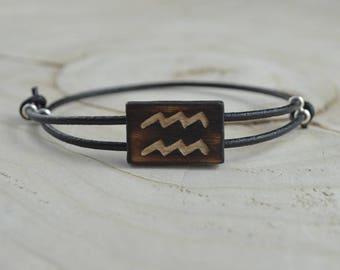 Bracelet Bois Récupéré, Cuir et Argent - Signe Astrologique Verseau