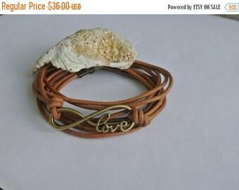 SALE 40% OFF Amour Love Natural Leather Brass Wrap Bracelet