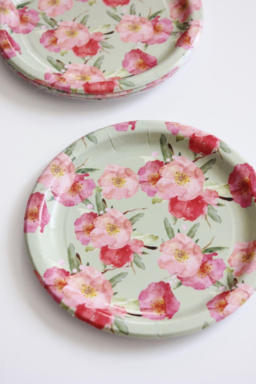 $20.00 & 8 FLORAL TEA PARTY Paper Plates Parisian Vintage Style Shabby Chic ...