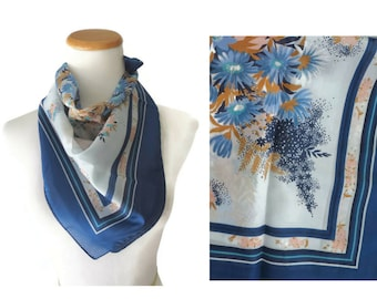 Blue Floral Scarf 70s Flower Print Lightweight 1970s Hair Wrap Purse Accessory Women's Scarf Polyester