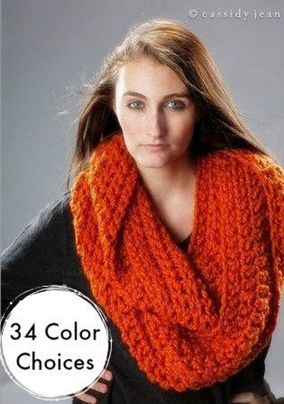 Chunky Oversized Circle Scarf Infinity Scarf Crocheted Cowl - Vermonter Infinity Cowl - Pumpkin Orange Cowl Orange Scarf - 34 Color Choices