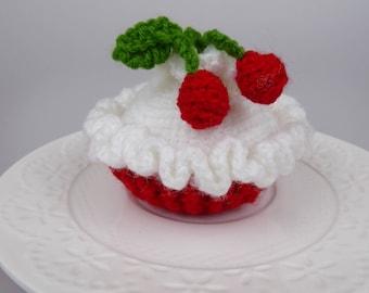 crochet cupcake with cherries