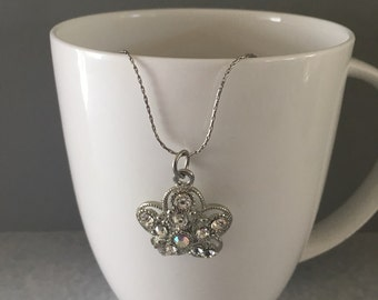 Rhinestone necklace, flower necklace, necklace flower, april birthstone necklace, april necklace