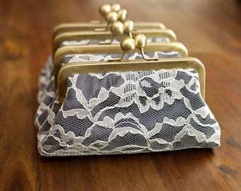 SALE - Navy Blue with Ivory Lace Personalized Bridesmaids Gifts - Lace Clutches