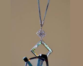 Eyeglass Holder - Necklace. CLEARANCE. Square Abalone Shell Loop Lanyard. Leather Lanyard.  Glasses Holder. Glasses Lanyard.