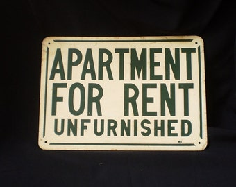 "Vintage Tin Sign ""Apartment For Rent""-1960's"