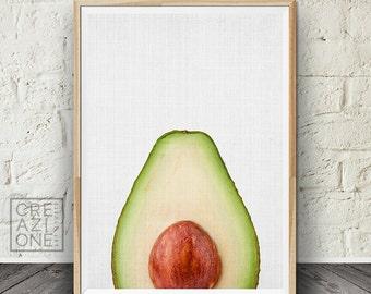 Avocado print, Tropical wall art, Fruit wall decor, Kitchen decor, Modern art, Fruit photography #057