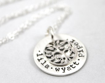 Mother's Day gift, custom hand stamped, family tree, personalized necklace, sterling silver, mother gift, personalized gift for mom