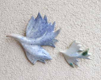 Two doves . Handmade ceramic doves. Hanging on the wall sculpture. Wall art. BIRDS FLOCK