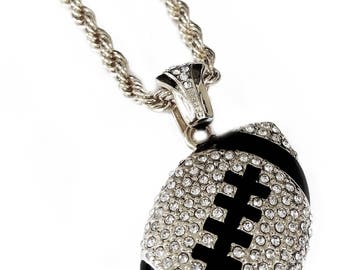 """Iced Out Football Pendant Necklace with 24"""" Rope Chain"""