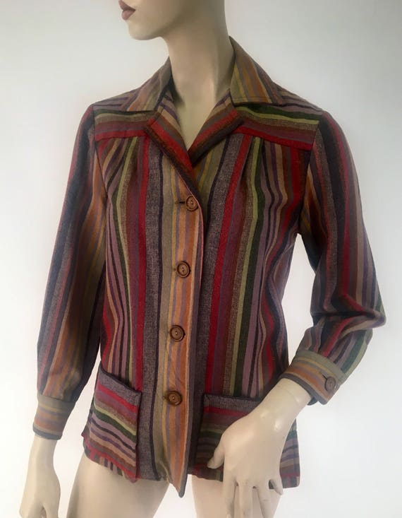 Vintage 1940s Wool Multi Color Striped Jacket by Fleischman Size S/M