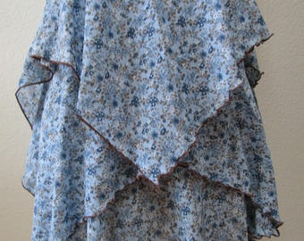 Sky blue color mix floral print skirt OR  tube dress plus made in USA (v41)