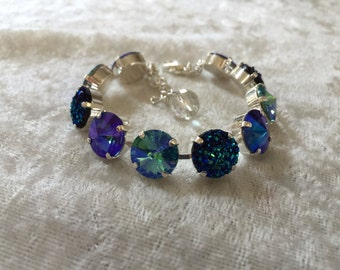 Swarovski crystal bracelet- turquoise, sapphire, and blue green bling embellishment- necklace and earrings available, bridesmaids, wedding