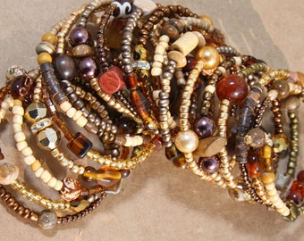 Hot Chocolate - 2   Women's Cuff Beaded - Afrocentric style