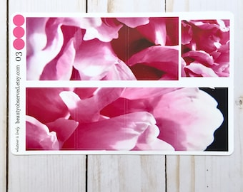 pink peony planner stickers | pink peony 03 photo stickers | full box planner stickers | pink flower stickers | vinyl matte stickers |