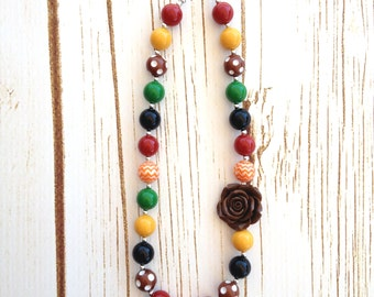 Fall Adult Chunky Necklace, Chunky Necklace in Fall Colors for Adults, Autumn Chunky Necklace