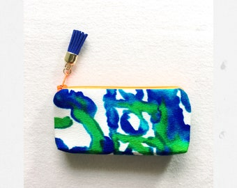handmade small stash bag - made in the shade - from vintage Hawaii fabric coin purse pouch