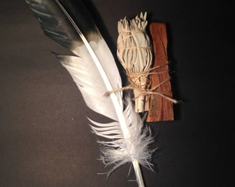 Smudge Kit, Palo Santo, White Sage & feather  PSF01
