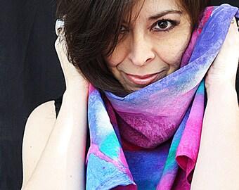 OOAK silk scarf.  Each one is an original.  A purple fuchia & turquoise rainbow in silk