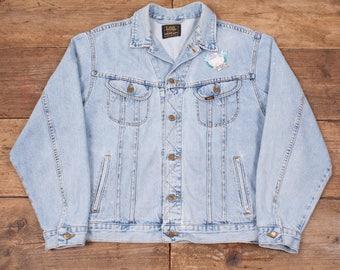 """Mens Vintage Lee Rider Stonewash Blue Denim Trucker Jacket XL 48"""" R5972"""