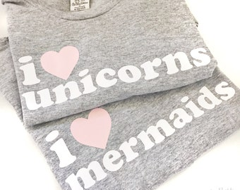 I Love Unicorns & Mermaids Child Tee