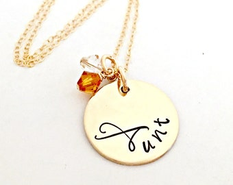 Gold Aunt Necklace - Personalized Hand Stamped Jewelry - Thick 14K Gold Filled Pendant, Swarovski Crystal Birthstones - Custom Gift for Her