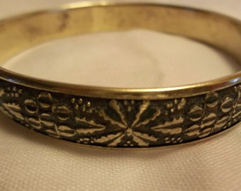 Etched Brass Bangle Bracelet