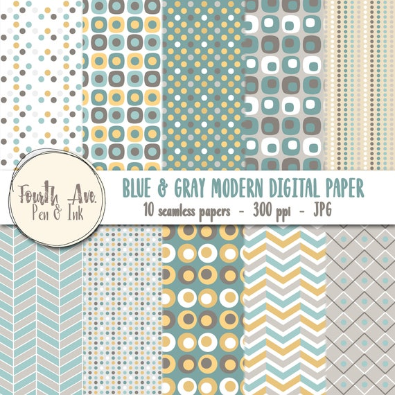 Blue And Gray Digital Paper Modern Yellow Patterns Trending Wallpaper Background From SarahIllustrate On