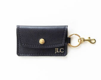 Navy leather keychain wallet keychain credit card wallet id monogrammed leather keychain wallet personalized credit card wallet id holder business card wallet colourmoves
