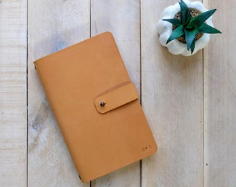 Leather Journal or Sketchbook with Stud Closure and Rivet Details, includes monogram