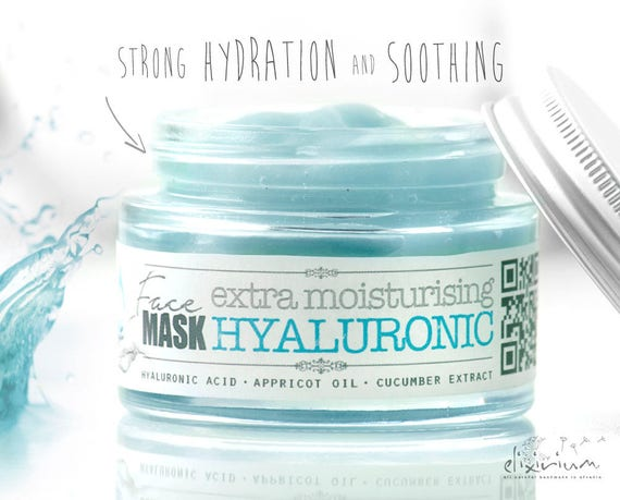 HYALURONIC FACE MASK extra moisturising • Strong Hydration Facial Mask, Organic Facial Care, Aloe, Appricot, cucumber, elixirium