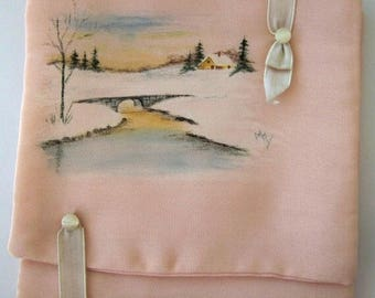Antique Pale Pink Silk Lingerie Case - Edwardian Lingerie Envelope - Handpainted Winter Scene - Handkerchief Boudoir Organizer
