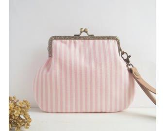 Powder pink clutch bag-wedding clutch-country style clutch-women's handbag in fabric-romantic handbag-vintage clutch bag