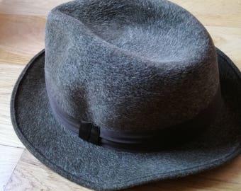 Vintage Fedora Hat/ 60s, 70s Hat/ Dark Green/ Fashion Hat