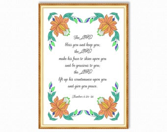 The LORD bless you and keep you - Numbers 6:24-26 - Printable Bible Verse Christian Wall Art - Scripture Prints - Instant Download